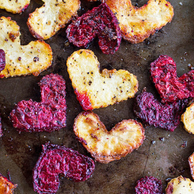 Heart-Shaped Roasted Beets and Potatoes