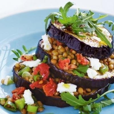 Eggplant and Lentil Salad Stacks