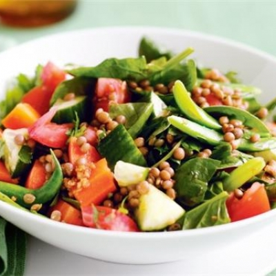 Lentil, Spinach and Tomato Salad