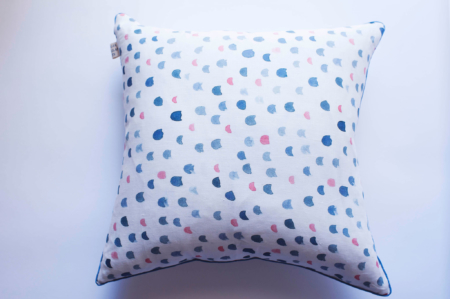 Double Inky Stripe Peach Smudge Cushion