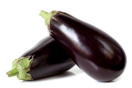 Two large eggplant, over white background.