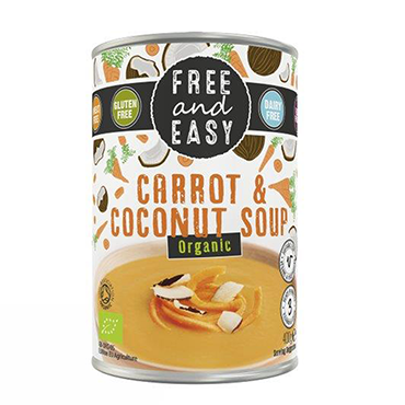 Organic Carrot & Coconut Soup, Free & Easy