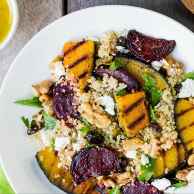 Quinoa with Grilled Pumpkin & Beetroot Salad
