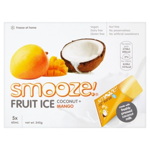 RIPE ORGANIC-SMOOZE COCONUT + MANGO FRUIT ICE 10X65ML