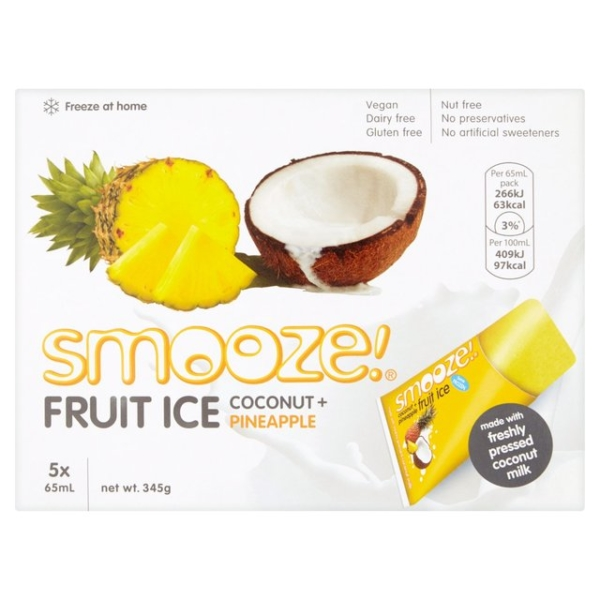 RIPE ORGANIC-SMOOZE COCONUT & PINEAPPLE FRUIT ICE 5X65ML