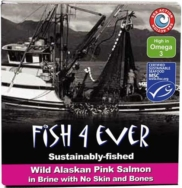 Wild Pacific Pink Salmon in Brine, Fish 4 Ever