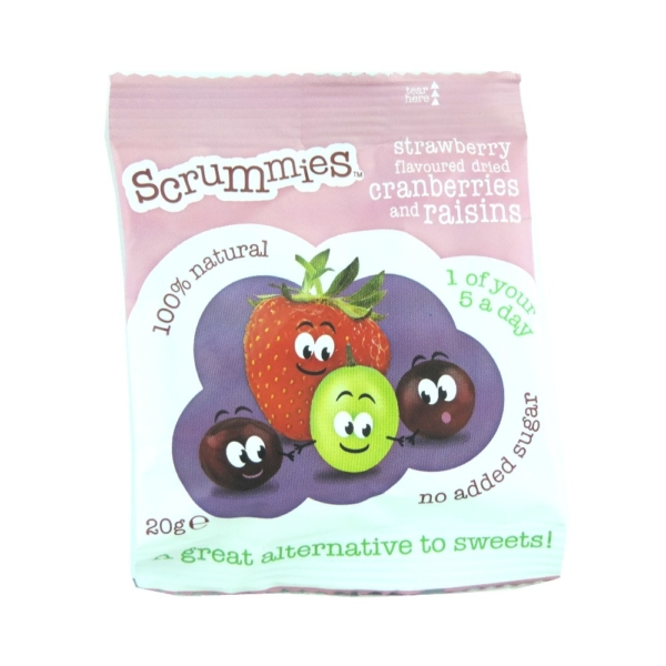 RIPE ORGANIC-SCRUMMIES STRAWBERRY FLAVOURED DRIED CRANBERR