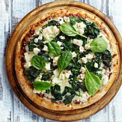 Spinach and Goats Cheese Pizza