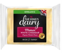 THE KINGS DAIRY ORGANIC MATURE WHITE CHEDDAR 200G