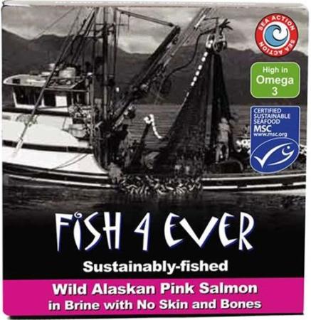 Wild Pacific Pink Salmon in Brine, Fish 4 Ever