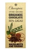 CHOCOPAZ VEGAN 80% CHOCOLATE HAZELNUT AND RAISINS