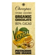 CHOCOPAZ VEGAN CHOCOLATE 80% WITH PISTACHIOS & ORANGE