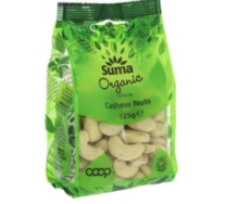 SUMA ORGANIC WHOLE CASHEW NUTS 125G
